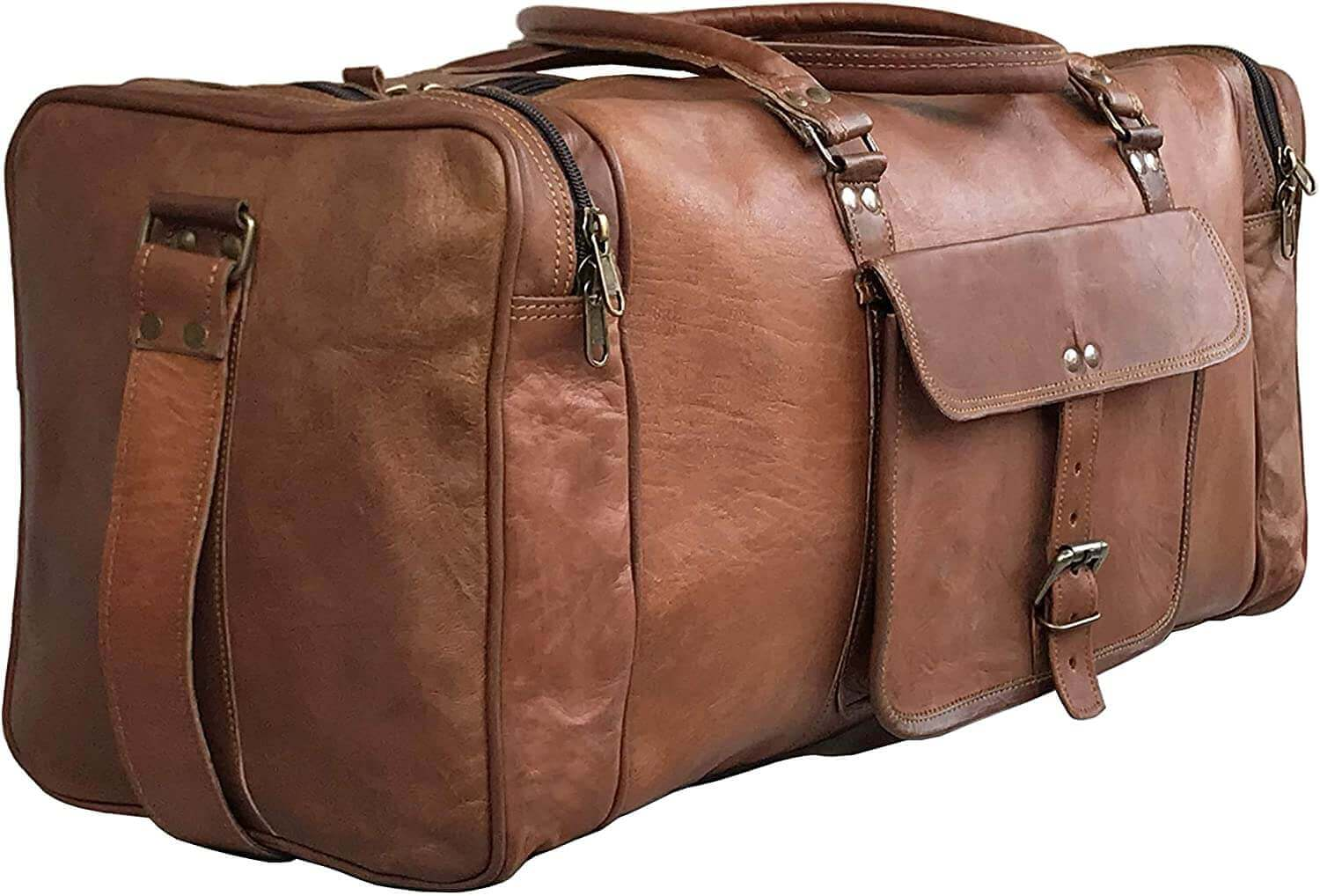 24 Inch Genuine Leather Duffel