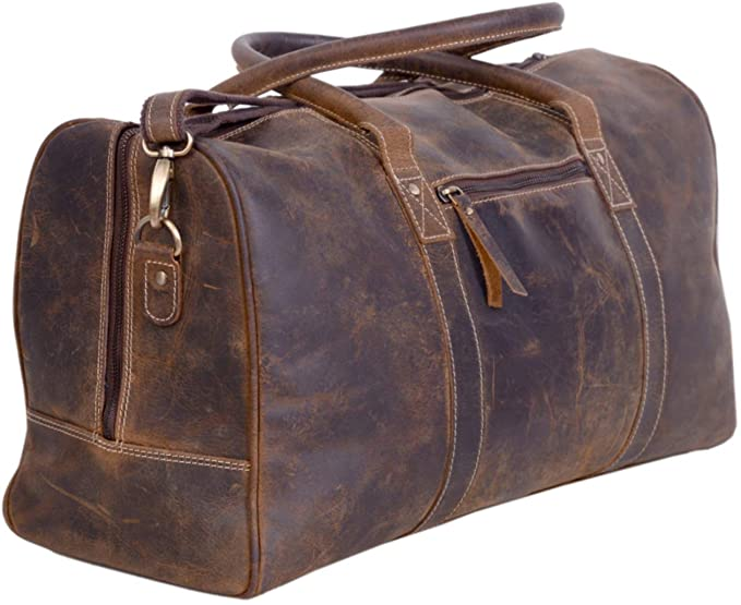 Komalc Leather Travel Duffel Bags For Men And Women